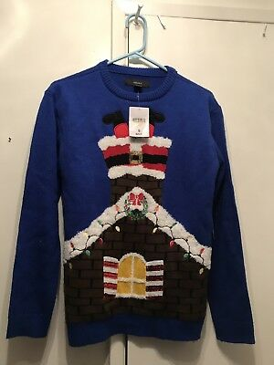 Ugly Christmas Sweater Pullover Santa Chimney Holiday Small (Light Up Pullover)