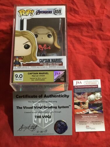 CAPTAIN MARVEL~AVENGERS FUNKO POP #459~VVGS SS 9.0~SIGNED BY BRIE LARSON+JSA WPP