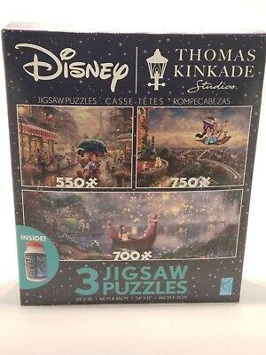 NEW 2020 Disney 3 Pack Thomas Kinkade Aladdin Mickey Minnie Jigsaw Puzzle w/glue