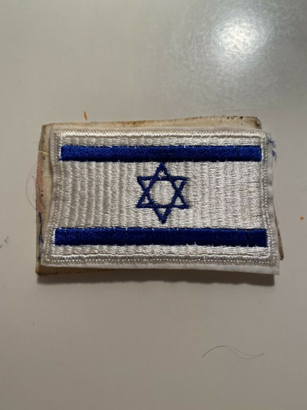 """Vintage ISRAEL FLAG STAR OF DAVID EMBROIDERED PATCH - 3.5""""x2.25""""Sticker Adhesive"""