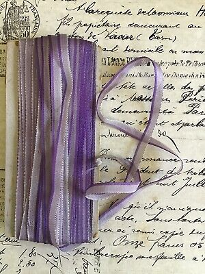 Antique Vintage French Purple /& Gold Ombre Moire Taffeta Rayon Ribbon 1 yard Hat