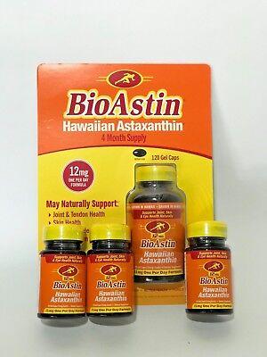 Bioastin Hawaiian Astaxanthin Nutrex Hawaii 12 Mg 120 Cap   3X Free 12Mg 25 Cap