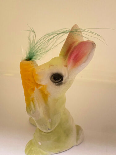 """Vintage Easter Rabbit Figure Chalk Plaster 4"""" Tall Bunny with Carrot Decoration"""