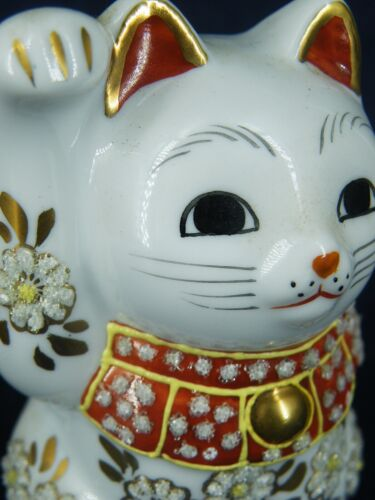 Japanese Maneki Neko Lucky Cat Beckoning  Porcelain Glass Decoration H 8.7cm F/S