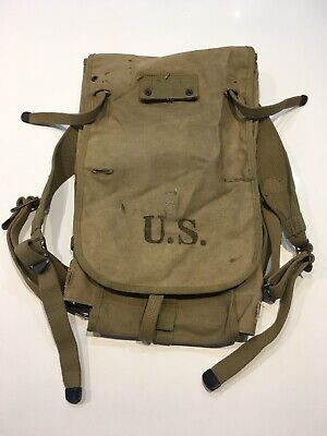 Original WWII U.S. Army M1928 Haversack Pack OD Color Dated 1942 D-Day Type