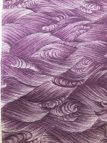 @@160 cmx 36 cm Japanese kimono silk fabric/ smooth crepe/ purple, waves D67