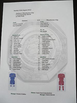 2012 FA Community Shield Chelsea v Manchester City Matchsheet