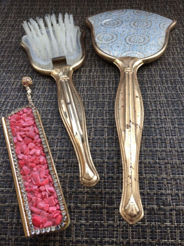VINTAGE VANITY MIRROR & BRUSH SET PULL OUT COMB WITH PINK CORAL GEMSTONE CASE