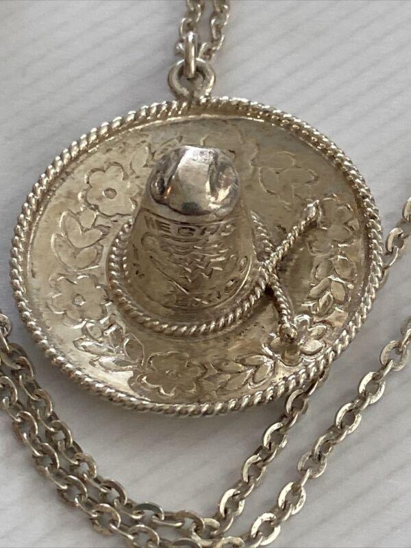"Mexico Sombrero Sterling Silver Pendant w/20""Length Necklace"