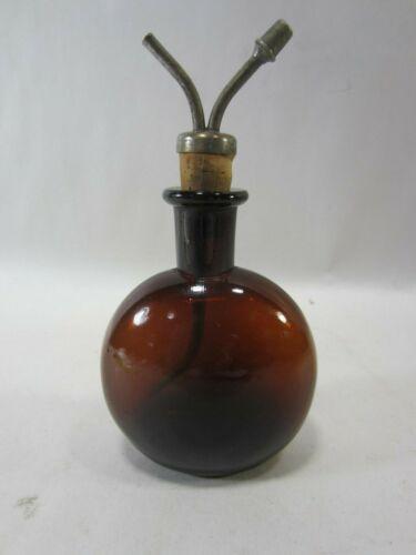 Antique JS Mfg. Co. Amber Chloroform Anesthesia Dripper Bottle M#446