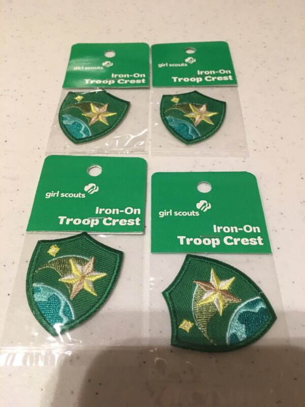 Shooting Star Troop Crest Iron-On Shield Patch Girl Scouts Lot Of4 Free Shipping