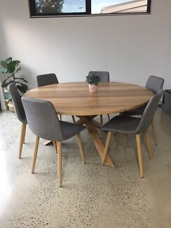 Large Round Dining Table Steel Leg Custom Made in Melbourne