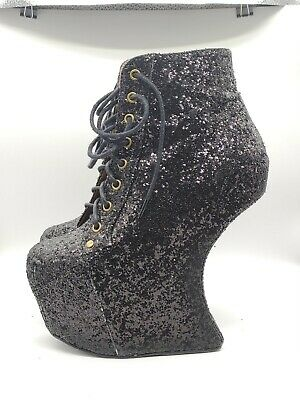 Jeffrey Campbell Night Lita Heelless Black Laceup Glitter Boots EU37 US6.5 UK4