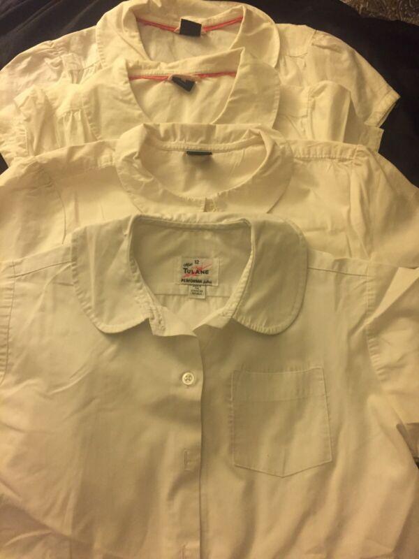 Lot Of 5 Girls School Uniform White Blouses Peter Pan Collar Size 12💕