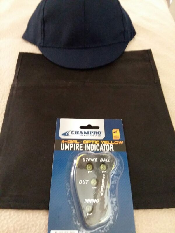 Umpire home plate accessories NEW hat, 4 dial indicator, ball bag