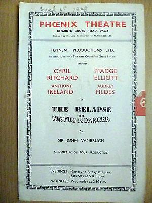 1948 Phoenix Theatre programme: The Relapse or Virtue in Danger by John Vanbrugh