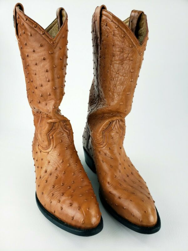 Rogers, Full, Leather, Quill, Ostrich, Western, Exotic, Style, Cowboy, Boots, Mexico, 12.5