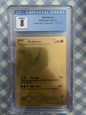 2013 Pokemon B&W Legendary Treasures RESHIRAM 114/113 Secret Rare CGC 8 Like PSA