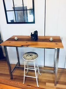 VINTAGE RECLAIMED WOOD KITCHEN ISLAND BAR HEIGHT DINING TABLE