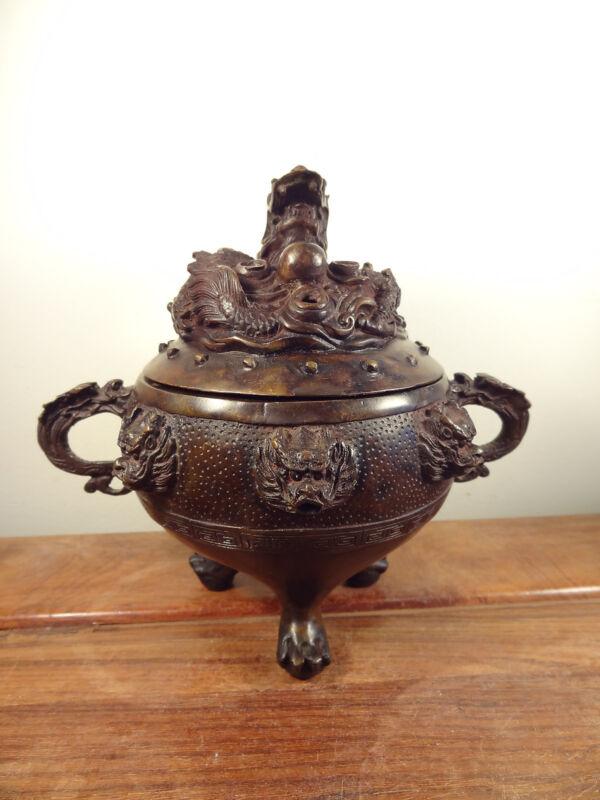 Old Bronze Incense Burner - Nine Dragon Design