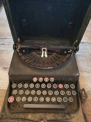 Antique Remington Monarch Pioneer portable typewriter in case,1930's
