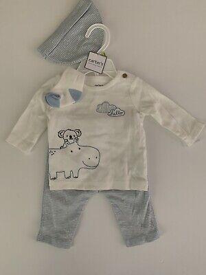 Carters Baby Boy Shirt Hat Socks Pant Set Size Newborn 3 Months Blue Hippo Koala