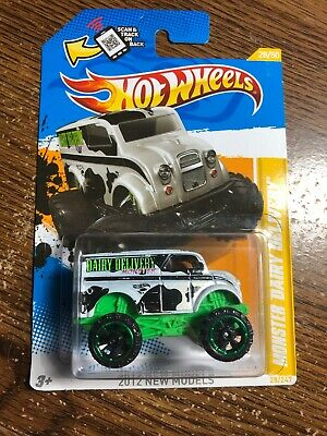 HOT WHEELS 2012 White & Black Cow Print Monster Dairy Delivery Truck New Models
