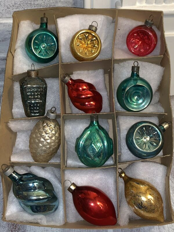 12 VTG Antique Glass Figural Christmas Tree Ornaments Swirl Acorn Lantern