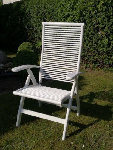 Hochlehner, Sessel, Holz, weiß lackiert,  Verstellbar, Gartenstuhl, Gartenmöbel