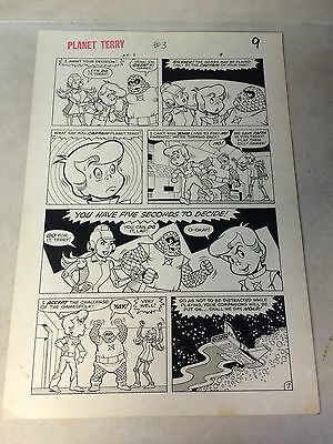PLANET TERRY #3 original art SPACE WARP, SCI FI FUN, 1985, ROBOTA, OMNUS, SHIP