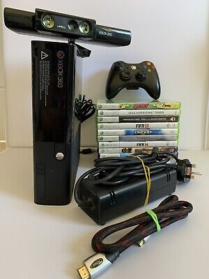 Xbox 360 250GB E Elite Console Bundle - 11 Games - Controller - Kinect