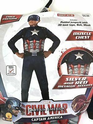 Boys Civil War Costume (CAPTAIN AMERICA CIVIL WAR Boys Small 4-6 Halloween Dress-Up Costume NEW)