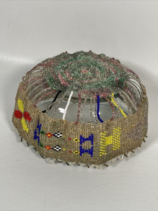 Vintage Native American Glass Beaded Retro Headpiece Antique Collectible Flapper