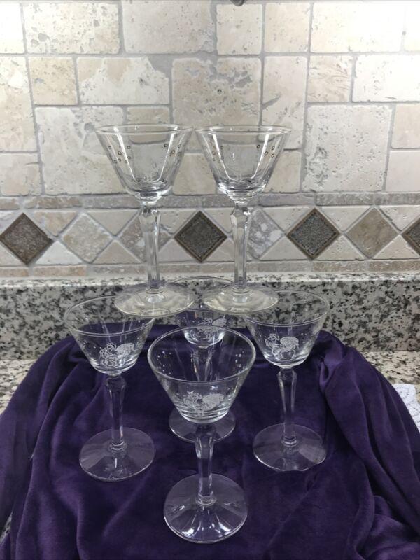 Libbey Chanticleer Drunken Rooster Martini Cocktail Glasses Set of 6 PRISTINE