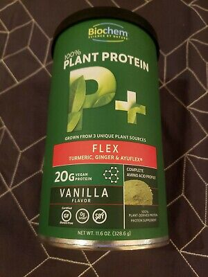 100%  Plant Protein Flex Vanilla Flavor Biochem 11.6 oz Powder best by