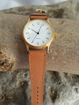 Used, Ladies Quartz Watch white Face Beige Leather Strap #18A  for sale  Shipping to Nigeria