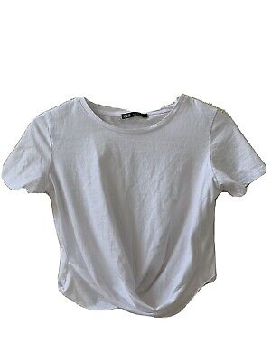 Zara Cute White Crop Top Tee For HOT SUMMER Extra Small XS Size New