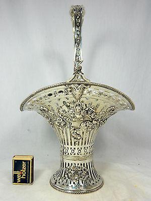 Schöne große Henkelschale / Obstkorb reichlich verziert  800 Silber  462 Gramm