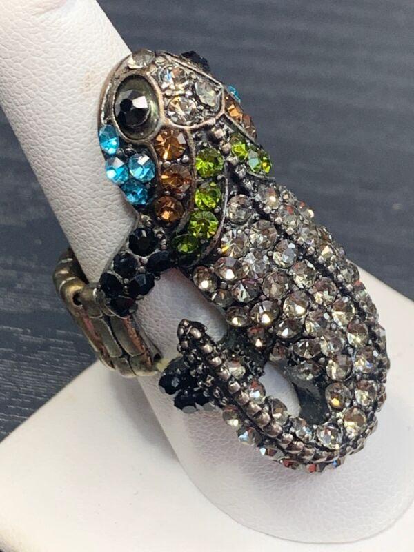 Lizzard Iguana Rhinestone  Crystal Fashion Large Flower Cocktail Ring Adjustable