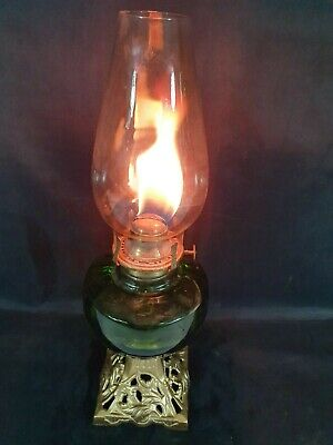 "Vintage 18.5"" High Oil Lamp Cast Iron Based Green Glass Bowl & Brass Fittings"