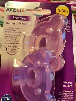 Philips AVENT 2 Pack Soothie Pacifier Bear shape 0-3 month Pink/Purple