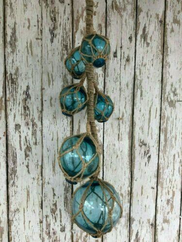 (6) Aqua Glass Fishing Floats On Rope ~ Nautical Fish Net Decor ~ Light Blue