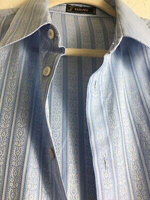 VERSACE Mens 100% Cotton Button Shirt Long Sleeve Size 52 , Fast Ship