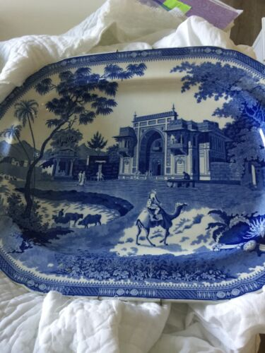 antique Blue/wht extra large platter