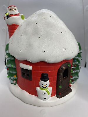 Vintage Ceramic Light-Up Christmas House Santa Claus Snowman Holiday Decor XMAS