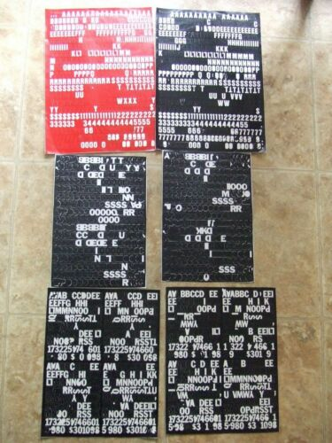 """VINYL LETTERS & NUMBERS 6 Stick-On Sheets (1) RED & (5) BLACK-1/2""""-Some Missing"""