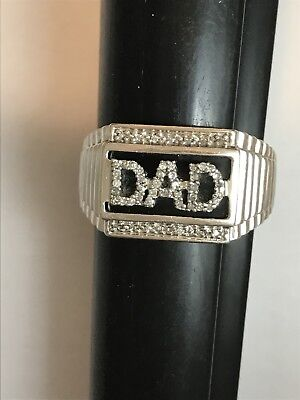 Sterling Silver And Diamond Encrusted Dad Fathers Day Ring Gift Huge!, used for sale  Rugby