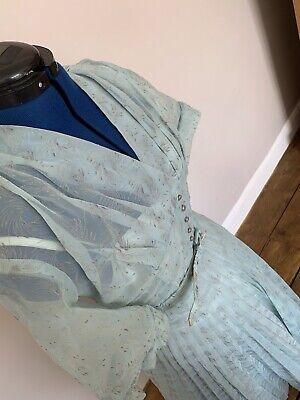 True Vintage 1950's Pale Blue and Gold Tea Dress, Goodwood Revival