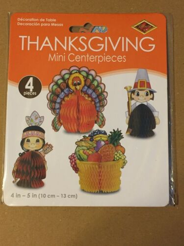 """THANKSGIVING BEISTLE HONEYCOMB 4 CT CENTERPIECES 1986 4"""" - 5"""" EACH"""