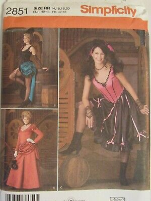 OOP SIMPLICITY 2851 MS Burlesque~Old West ~Saloon Girl COSTUMES PATTERN 14-20 UC